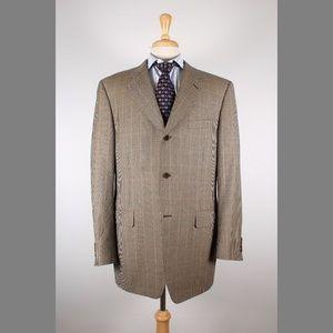 #Canali 56/46L Brown Check Wool 3B Sport Coat 63-7